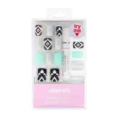 Creating Aztec designs on your nails can be tricky. Get an edgy tribal mani with this easy to apply false nails kit!