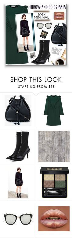 """Edgy Minimal: Throw & Go Dresses"" by watereverysunday ❤ liked on Polyvore featuring Valentino, NLXL and Gucci"