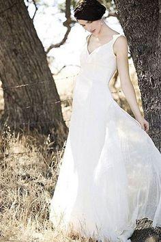 Ivory Chiffon A-line V-neck Floor Length Beach Wedding Dress, SW23