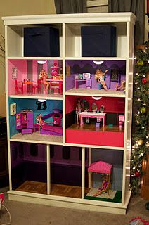 DIY Barbie house made from an old cabinet