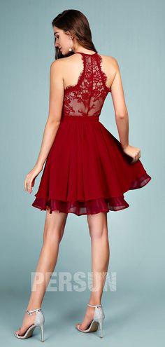 Cute Short Halter Burgundy homecoming dress with lace back - Persun. Burgundy Homecoming Dresses, Prom Dresses, Dress Out, Lace Dress, Formal Wear Women, Cheap Cocktail Dresses, Red Chiffon, Short Prom, Cute Shorts