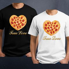 """""""True Love"""" Pizza Heart Valentines T-Shirt - Ladies, Mens. 100% cotton shirt, available in Men's, Ladies and kids. High quality digital direct printing. Choose shirt style, size and color! Zodiac Birthstone Ladies T Shirt. 