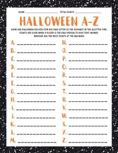 Halloween A-Z Halloween Scattergories Halloween Spiele Halloween Tags, Halloween Designs, Halloween Class Party, Halloween Words, First Halloween, Holidays Halloween, Halloween Crafts, Kids Halloween Games, Halloween Party Activities
