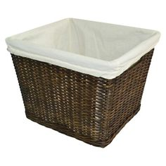 The Pillowfort Rattan Tapered Large Milk Crate Basket is a sturdy and versatile basket for any room in the house. It easily organizes and stores kid's and grown-ups' stuff- anything and everything in the mud room, family room, bedroom, home office and laundry. This Basket has removable liner.