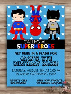 Superhero Birthday Invitation, Superhero Invitation, Birthday Invite Superhero, Hero Superhero Invite Superhero Digital Printable, JPG File by KawaiiKidsDesign on Etsy https://www.etsy.com/listing/160305764/superhero-birthday-invitation-superhero