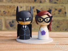 Batman groom and Catwoman bride wedding cake topper by Genefy Playground.  https://www.facebook.com/genefyplayground
