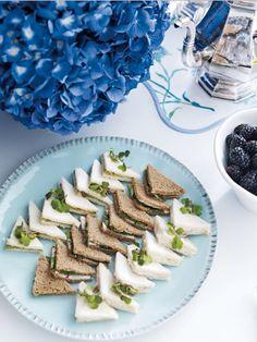 delightful tea sandwiches AND LOVE THE BLUE HYDRANGEAS