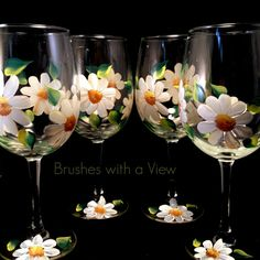 Hand Painted Wine Glasses Daisies and Green by Brusheswithaview