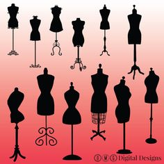 12 Mannequin Silhouette Clipart Images by OMGDIGITALDESIGNS