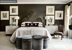 dark grey bedroom and decorative side tables