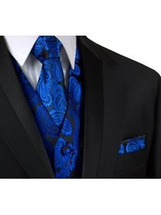 Italian Design, Men's Tuxedo Vest, Tie & Hankie Set in Royal Blue Paisley Blue Tuxedo Wedding, Formal Tuxedo, Prom Tuxedo, Formal Vest, Cool Tuxedos, Blue Tuxedos, Wedding Men, Wedding Suits, Wedding Ideas