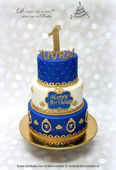 Royal Blue Prince Theme Birthday Cake