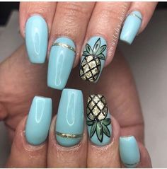Blue coffin acrylic nails with pineapple design! Perfect for spring or summer #DIYNailDesigns #summernaildesigns