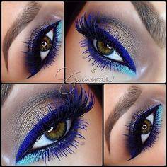 new eye makeup idea, blue eyelash & blue eye line
