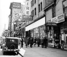 """East Hastings Street The State with its wall sign proclaiming the Sunday """"midnite show""""—actually, Monday morning. Vancouver Chinatown, Vancouver City, Vancouver Island, Local History, History Facts, Old Photos, Vintage Photos, Granville Street, Slums"""
