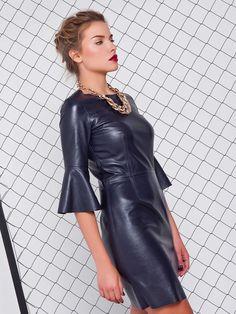 Leather mini dress in unusual color