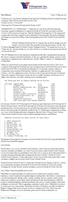 V-Empower, Inc. Tops Deloitte's Maryland Technology (Washington News)
