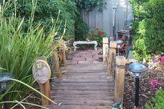 I like the wooden walkway in this memorial garden