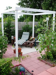 Pergola From Home Depot Anchored Into Concrete Pavers
