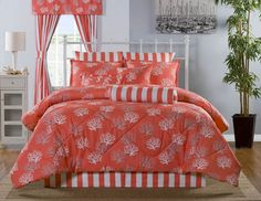 This gorgeous bedding features a tropical sea coral design in white and aqua on a bright coral ground. Beach Bedding, Coastal Bedding, Coastal Bedrooms, Coastal Decor, Modern Bedroom, Luxury Bedding, Coastal Living, Coastal Furniture, Coastal Style