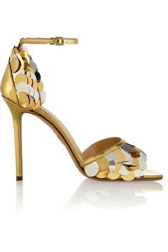 Charlotte Olympia|Triton embellished metallic leather sandals