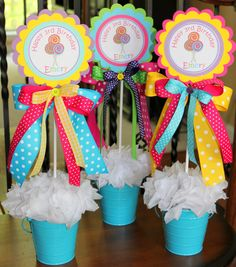 Single Lollipop Centerpiece in Hot Pink Yellow Purple Lime Turquoise