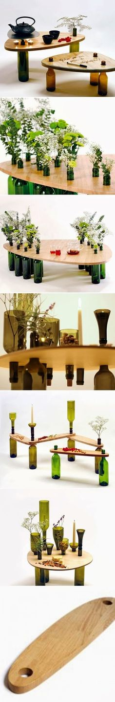 Such an amazing idea! Got solution to a design i was checking ! DIY : Used Wine Bottle Table Wine Craft, Wine Bottle Crafts, Bottle Art, Diy Bottle, Vodka Bottle, Bottles And Jars, Diy Table, Wood Table, Clever Diy