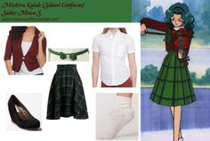 Like Sailor Moon Outfits on Facebook! Requested by:viscountess ModCloth Precisely Plaid-Matic skirt American Apparel unisex pinpoint Oxford short sleeve button down shirt in Oxford White American Apparel girly lace ankle sock in White Cooperative suede platform wedge in Black Dodostyle faux-suede bow accent belt in Green Wet Seal one button scrunch blazer in Bordeaux