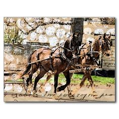 Two Horse Team Mixed Media Collage Postcard