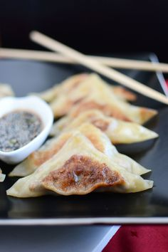Veggie Potstickers with Chili Ginger Dipping Sauce