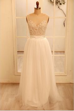 Sheer Tulle Lace Wedding Dress V Back Dress by misdress on Etsy, $169.00. I could have it custom made to not be sheer...