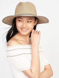 d21e891e5d032 Old Navy Wide-Brim Straw Fedora for Women Straw Fedora
