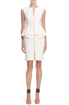 Free shipping and returns on Ted Baker London 'Jamthun' Structured Peplum Cotton Blend Sheath Dress at Nordstrom.com. Tailored seaming structures the fitted silhouette and architectural peplum waistline of a cap-sleeve sheath dress. Front and center, a shiny two-way zipper bridges the split neckline and seductively slit hem.