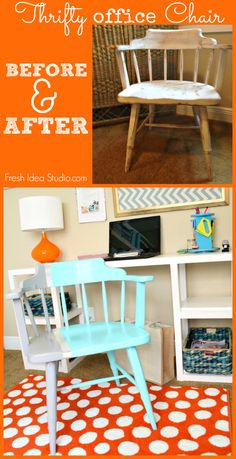 old Thrifty office Chair goes Mod {Before & After} Tips to get The Look | Fresh Idea Studio.com