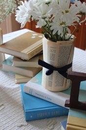 book page vase centerpiece