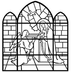 Coloring Book: The Annunciation (stained glass) Children's Church Crafts, Catholic Crafts, Catholic Kids, Kids Church, Xmas Crafts, Spring Activities, Art Activities, Colouring Pages, Coloring Books