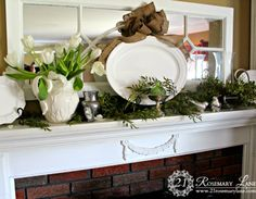 Love this mirror over the fireplace--perfect for a long narrow space