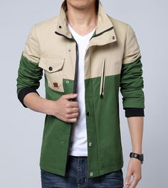 Men's casual #green long sleeve #jacket zip and button style multi pockets, Zip & button fastenings on the front.