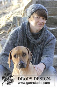 Maglione e berretto DROPS per uomo, a maglia rasata e sciarpa a coste in Andes.