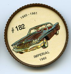 Jello-O Coin 182 - Imperial (1960) - With its V-8 engine produc ing 350 horsepower, the stately 1960 Imperial was one of the most powerful cars in the Chrysler line. The Imperial offered an automatic pilot that kept the car at a pre-set speed without using the foot accelerator. Swivel seats were available for driver and front-seat passenger.
