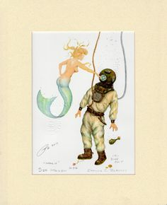 Mermaid Marie Deep Sea Scuba Diver Art Signed Robert Kline