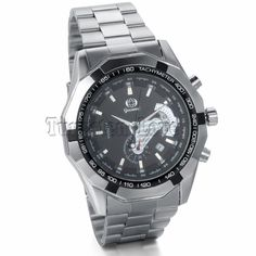 Men's Classic Luxury Sport Mechanical Watch, Military Design, Steel Stainless Band