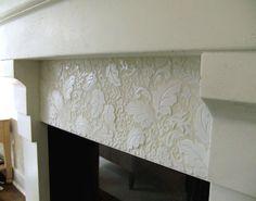 "MacMillan Amies Studio--""William More or Less"" white fireplace surround tile mosaic White Fireplace Surround, Floating Fireplace, Fireplace Redo, Fireplace Surrounds, Fireplace Mantels, Fireplaces, Fireplace Ideas, Mosaic Art, Mosaic Glass"