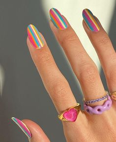 all creds to the owner✨ Bright Nails, Funky Nails, Bright Summer Nails, Hair And Nails, My Nails, Striped Nails, Minimalist Nails, Fire Nails, Simple Acrylic Nails