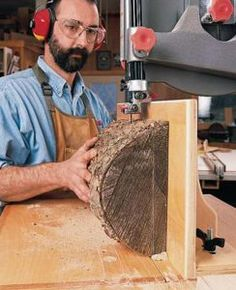 Woodworking School Bandsaw Resawing - Popular Woodworking Magazine - Bandsaw Resawing Cut logs into lumber, make thin boards from thick and cut your own veneer. By George Vondriska Perhaps you want to cut material down to in., or make veneer from that… Woodworking Bandsaw, Woodworking Courses, Woodworking Shows, Woodworking Techniques, Popular Woodworking, Woodworking Furniture, Woodworking Crafts, Woodworking Jigsaw, Woodworking Equipment