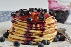 Buttermilk Pancakes with Homemade Blueberry Syrup | Flour On My Face