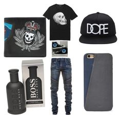 """""""Guys Night Out-Summer"""" by kayla-wilburn-1 on Polyvore featuring Balmain, Alexander McQueen, Converse, Forever 21, FOSSIL, HUGO, men's fashion and menswear"""