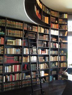 Impressive built-in bookshelves from a model home we visited.
