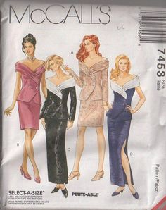 MOMSPatterns Vintage Sewing Patterns - McCall's 7453 Retro 90's Sewing Pattern STUNNING Wide Wrap Portrait Collar, Off the Shoulders Double Breasted Jacket Top Blouse, Sheath Skirt, 2 Piece Evening Dress Size 10-14