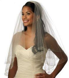 Wedding Bridal Veil Crystals Beaded Fingertip Length 405FDW